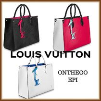 Louis Vuitton EPI Unisex A4 2WAY Plain Leather Oversized Logo Totes