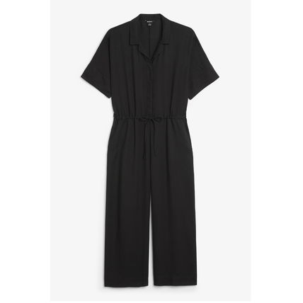 Dungarees Casual Style V-Neck Medium Long Short Sleeves