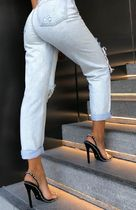 WHITE FOX Open Toe Lace-up Casual Style Blended Fabrics Studded