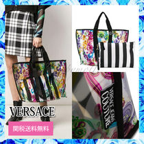 VERSACE Flower Patterns A4 Crystal Clear Bags PVC Clothing