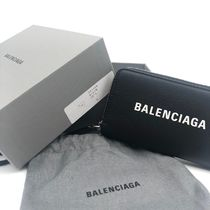 BALENCIAGA EVERYDAY TOTE Unisex Plain Leather Logo Coin Cases