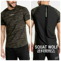 SQUAT WOLF Crew Neck Camouflage Blended Fabrics Street Style Cotton