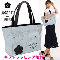 MARY QUANT Flower Patterns Casual Style Denim A4 Logo Totes