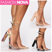 FASHION NOVA Lace-up Casual Style Plain Other Animal Patterns