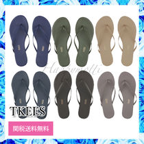 TKEES Open Toe Rubber Sole Casual Style Street Style Plain Leather