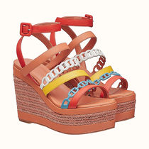 HERMES Platform Casual Style Bi-color Leather Party Style