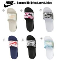 Nike BENASSI Zebra Patterns Tropical Patterns Open Toe Casual Style