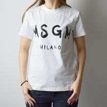 MSGM Crew Neck Street Style Short Sleeves Logo T-Shirts