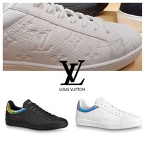 Louis Vuitton Monogram Unisex Blended Fabrics Leather Logo Sneakers