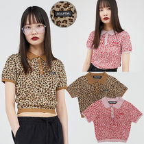 SCULPTOR Crew Neck Short Leopard Patterns Street Style Long Sleeves