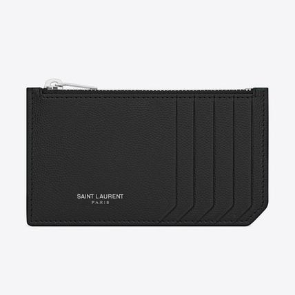 Saint Laurent Unisex Calfskin Street Style Plain Leather Logo Money Clip