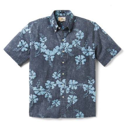 Button-down Tropical Patterns Short Sleeves Shirts