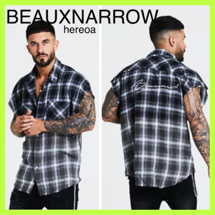 Other Plaid Patterns Street Style Cotton Short Sleeves