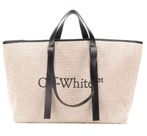 Off-White Casual Style Unisex A4 2WAY Plain Logo Totes
