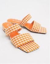 MONKI Gingham Open Toe Square Toe Casual Style Mules