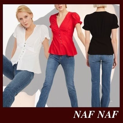 Casual Style Plain Short Sleeves Party Style Office Style