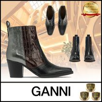 Ganni Cowboy Boots Casual Style Leather Elegant Style