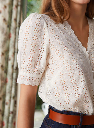 Flower Patterns Casual Style Cotton Lace Office Style
