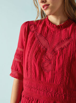 Short Casual Style Flared Cotton Short Sleeves Lace