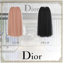 Christian Dior Flared Skirts Casual Style Plain Long Midi Office Style