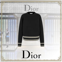 Christian Dior Crew Neck Casual Style Cashmere Long Sleeves Plain Medium