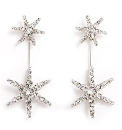 Star Casual Style Silver With Jewels Elegant Style Earrings