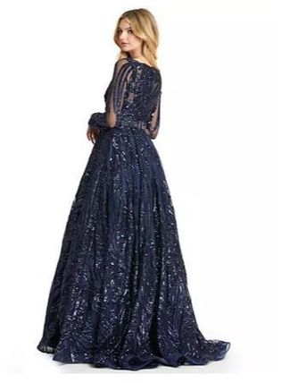 Blended Fabrics Flared Long Sleeves Long Lace Dresses