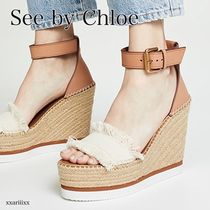 See by Chloe Open Toe Platform Round Toe Casual Style Plain Logo