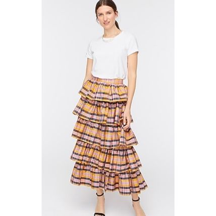 Other Plaid Patterns Casual Style Maxi Long Maxi Skirts