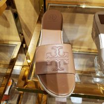 Tory Burch Open Toe Casual Style Plain Leather Logo