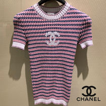 CHANEL ICON Crew Neck Blended Fabrics Cotton Short Sleeves Logo T-Shirts