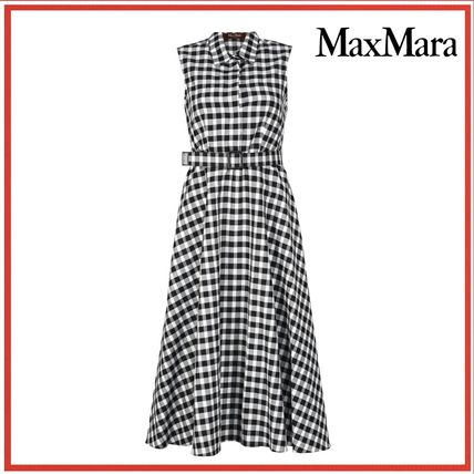 Gingham Maxi Sleeveless Cotton Long Dresses