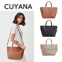 CUYANA Casual Style Plain Leather Office Style Crossbody Handbags