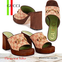 GUCCI 1955 Horsebit Open Toe Platform Casual Style Suede Blended Fabrics