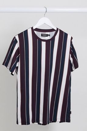 Crew Neck Stripes Cotton Short Sleeves Logo