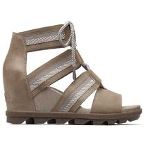 SOREL Rubber Sole Plain Leather Platform & Wedge Sandals