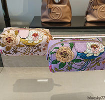 GUCCI Flower Patterns Canvas Pouches & Cosmetic Bags