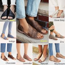 Free People Open Toe Platform Casual Style Plain Leather Elegant Style