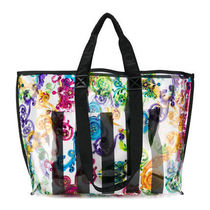 VERSACE Stripes Flower Patterns Casual Style A4 Crystal Clear Bags
