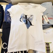 Calvin Klein Plain Cotton Short Sleeves Logo T-Shirts