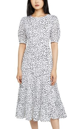 Dots Puff Sleeves Tired Dresses