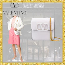 VALENTINO  VSLING Casual Style Chain Plain Leather Party Style Elegant Style