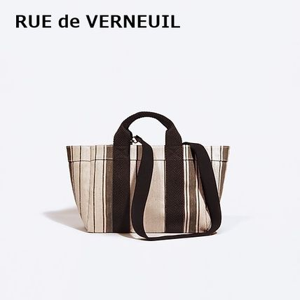 Stripes Casual Style A4 2WAY Elegant Style Totes