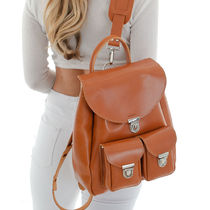 GRAFEA Casual Style Plain Leather Office Style Backpacks