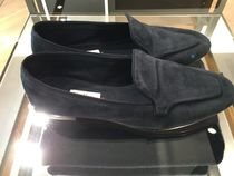 MaxMara Plain Toe Moccasin Suede Plain Leather Office Style