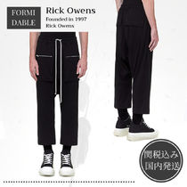 RICK OWENS Street Style Plain Cotton Midi Logo Cropped Pants