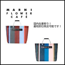 MARNI MARNI MARKET Stripes Casual Style Nylon A4 Leather Logo Totes