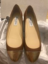 Jimmy Choo Wedge Round Toe Casual Style Bi-color Leather Party Style