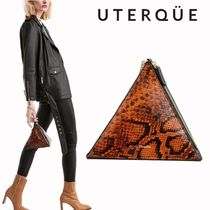 Uterque Leopard Patterns Casual Style Plain Leather Party Style