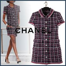 CHANEL Short Tight Tweed Blended Fabrics Bi-color Short Sleeves